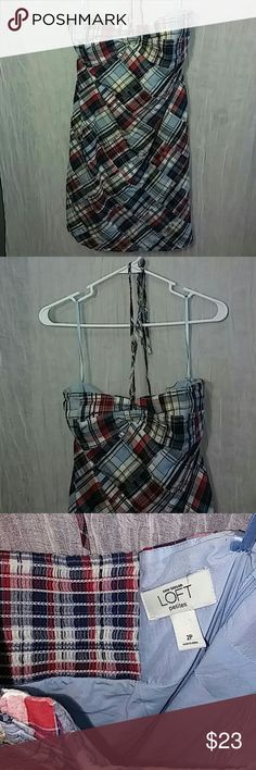 """67% Off!! Ann Taylor Loft Plaid Dress 67% off retail!! Like new. Strapless petite dress, knee length with neck strap/ the up. Bust area has a stretch portion in the back. Bust 15"""" flat (plus stretch), waist 14.5"""" flat, 27.5"""" length.  Reasonable offers always considered! Bundle deals available!! Don't miss this cutie! Ann Taylor Dresses"""