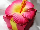 Pink Hibiscus Tropical Wedding Favor Box