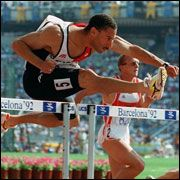 Marcus McKoy  Olympic Gold Medalist Athlete was born on December 10, 1961 in Georgetown, Guyana. He is an Olympic hurdler who won a Gold Medal at the 1982 Commonwealth Gamesin Brisbane in 110m hurdles and won a Silver Medal in 4x100m relay.    At the 1992 Olympic Games in Barcelona, McKoy won a Gold Medal completing the 110m hurdles in 13.12 seconds. At the 1993 IAAF World Indoor Championships, he won the 60m hurdles earning a Gold Medal.