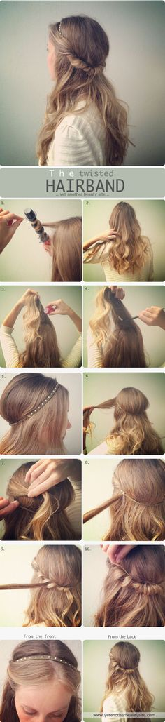Styling hair around a headband.