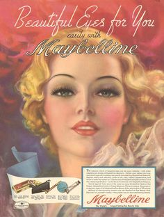 Beautiful - and great story behind this artist - from pin up girl to pin up and commercial artist. The Maybelline Story : Maybelline ad painted by Zoë Mozert, the most famous female pin-up artist of her day 1930s Makeup, Vintage Makeup Ads, Retro Makeup, Vintage Beauty, Vintage Vanity, Eye Makeup, Mode Vintage, Style Vintage, Vintage Ads