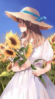 Nice use of colors to really make this female anime/manga character stand out. Manga Anime, Manga Girl, Anime Chibi, Kawaii Anime Girl, Anime Art Girl, Anime Girls, Anime Disney, Animé Fan Art, Anime Flower