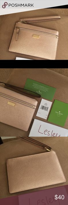 BNWT - Kate spade Newbury Lane RoseGold Wristlet Fits up to iPhone 7+ - wrist strap - beautiful rose gold - zip closure - 8 designated card slots inside - one outer compartment (zipped) - ideal to organize tech essentials earphones cables wires etc - classic KS named interior lining - pet free - smoke free - thanks! kate spade Bags Clutches & Wristlets