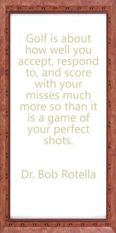 A great reminder to all the golfers.