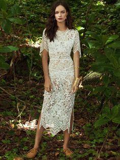 For Love & Lemons Luna Maxi Dress in White