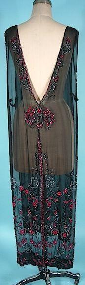 1920's Black Silk Beaded Tabard Overdress
