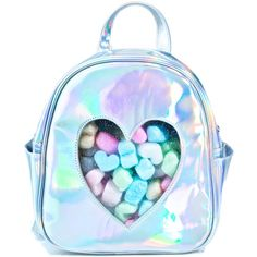 Current Mood Clear Front Heart Backpack (2.060 RUB) ❤ liked on Polyvore featuring bags, backpacks, accessories, blue backpack, holographic backpack, rucksack bags, see through backpack and hologram bags