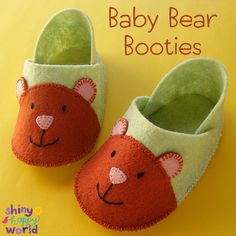 Make some adorable Baby Bear Booties with this easy free felt booties pattern from Shiny Happy World.