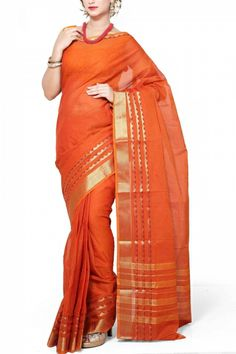 Rust Cotton Mangalgiri Saree