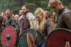 Vikings (series 2013 - ) Starring: Travis Fimmel as Ragnar Lothbrok, Clive Standen as Rollo, Katheryn Winnick as Lagertha and Alexander Ludwig as Bjorn Lothbrok. (click thru for larger image)