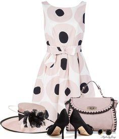 """Derby n Dots"" by stylesbyjoey Kentucky Derby Outfit, Derby Attire, Kentucky Derby Fashion, Derby Outfits, Fashion Moda, Look Fashion, Womens Fashion, 1950s Fashion, Vintage Fashion"