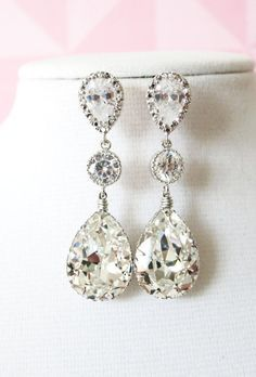 Silver Swarovski Teardrop Crystal Earrings, Bridesmaid earrings, Bridal Wedding Jewelry, Swarovski Crystal Drops, white weddings, www.glitzandlove.com