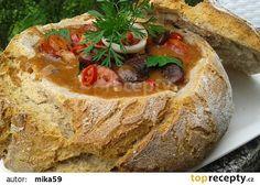 Pikantní fazole v chlebu recept - TopRecepty.cz Meatloaf, French Toast, Bread, Breakfast, Kitchens, Morning Coffee, Brot, Baking, Breads
