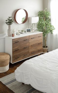 Elegant and functional, this two-toned rustic storage unit will be the center of attention in any room. This boho, minimal dresser has lots of storage and would be perfect for any adult, teen, or child's bedroom! Room Ideas Bedroom, Home Decor Bedroom, Modern Bedroom, Childs Bedroom, Girl Rooms, Bedroom Dresser Decorating, Diy For Bedrooms, Bedrooms With White Furniture, Living Room Dresser