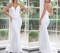 The Classic Bride Sophisticated Wedding, Affordable Wedding Dresses, Modern Romance, Mermaid Skirt, Designer Gowns, Plunging Neckline, Spaghetti Straps, Wedding Designs, Fit And Flare
