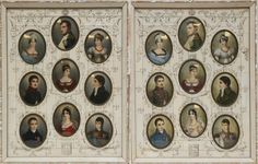 HAND PAINTED NAPOLEONIC MINIATURES 19th century collection of two etched and abalone inlaid frames. Each with nine miniature portraits depicting members of Napoleon's family.