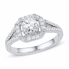 3/4 Ct Natural Diamond Frame Engagement Ring In 10K White Gold by JewelryHub on Opensky