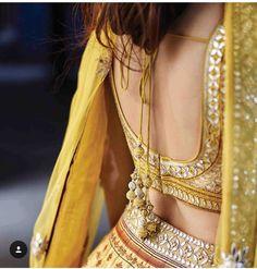 By designer Anita Dongre. Blouse Patterns, Saree Blouse Designs, Lehnga Blouse, Lehenga Choli, Anarkali, Indian Attire, Indian Wear, Indian Dresses, Indian Outfits