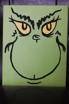 Paint this on a plate or mug Grinch Inspired 8x10 Canvas Painting by Homemaker123 on Etsy