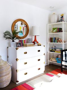 I love this arrangement on the dresser and shelves. Styled bookshelf