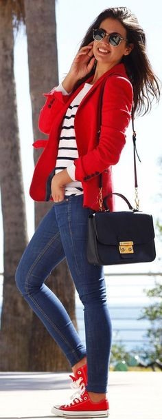 #spring #outfit #ideas : red jacket   blue jeans. I would change shoes though!!