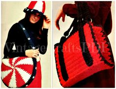 1970s Crochet Vintage Pattern - Briefcase Tote Bag plus Patriotic Bag and Hat - Great for Beginners tote bag - Direct from USA by VintageCraftsPDF