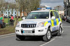 An Garda Siochana Traffic Corps Toyota Land Cruiser on the Green, Castlebar, Mayo March Grand Theft Auto Series, Erin Go Bragh, Police Uniforms, Emergency Vehicles, Police Cars, Law Enforcement, Toyota Land Cruiser, Ems, Countries