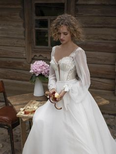 Magnificent chiffon wedding dress Lakrima with long sleeves and airy train. The corset is decorated with tender stones . Sweet Wedding Dresses, Perfect Wedding Dress, Boho Wedding Dress, Autumn Wedding Dresses, Fairytale Wedding Dresses, Mermaid Wedding, Christian Wedding Dress, Lace Wedding, Ethereal Wedding Dress