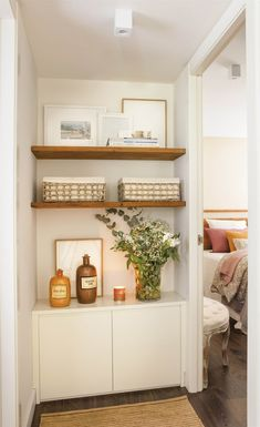 Alcove Shelving, Cupboard Shelves, Bedroom Nook, One Bedroom Apartment, Master Bedroom, Made To Measure Furniture, Small Appartment, Hallway Cabinet, Basement Inspiration