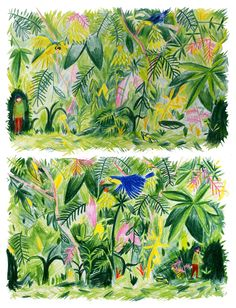 Illustration by Paige Collins Forest Illustration, Plant Illustration, Tropical, Landscape Artwork, Color Pencil Art, Traditional Paintings, Art Sketchbook, Art Inspo, Sculpture Art