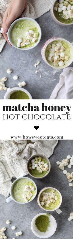 Matcha Honey Hot Chocolate with Toasted Marshmallows I howsweeteats.com @howsweeteats