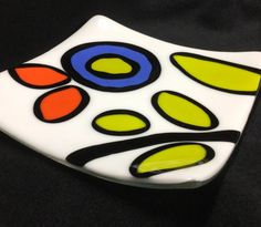 FUSED GLASS PLATE, Abstract Flower Plate, Floral Glass Plate, Glass Dish, Serving dish, Tapas Dish, Small Plate by 1550Art on Etsy https://www.etsy.com/listing/219131946/fused-glass-plate-abstract-flower-plate