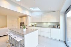 like the island and side kitchen. Would be a way to enjoy the views while preparing food instead of always having your back to it. kitchen rear extension ealing with pitched roof: Modern Kitchen by nuspace Dining Room Design, Dining Area, Kitchen Dining, Kitchen Decor, Kitchen Ideas, Kitchen Modern, Kitchen Designs, Beautiful Kitchens, Cool Kitchens