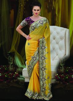 Beautiful Yellow Viscose Georgette Saree