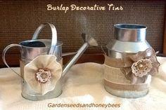 Burlap Decorative Tins Dyi Crafts, Diy Craft Projects, Sewing Projects, Craft Ideas, Wedding Crafts, Wedding Decorations, House Decorations, Wedding Stuff, Wedding Ideas