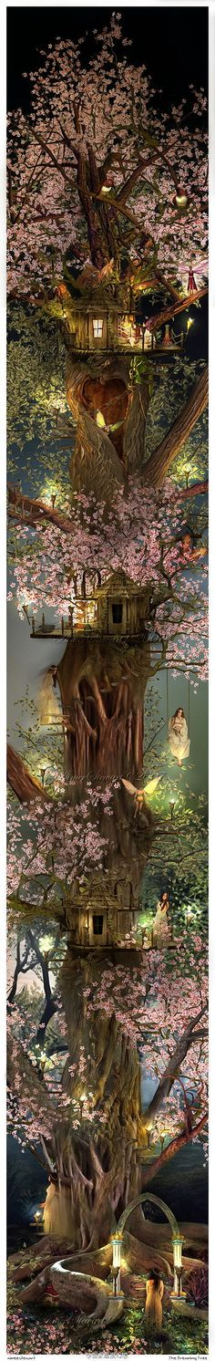 Film and television animation cartoon drawing illustration illustrator 's beautiful hand-drawn animation tree house @ obsessive collecting wild landscape captured the second element...