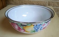 Vintage GMI Large Nesting Enamelware Mixing Bowls With Fruit Design - Set of 2 by ClassyVintageGlass on Etsy