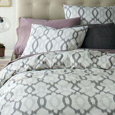 Organic Ikat Links Duvet Cover + Shams - Platinum #westelm  @jesstoutdesign  Maybe for guest bedroom????
