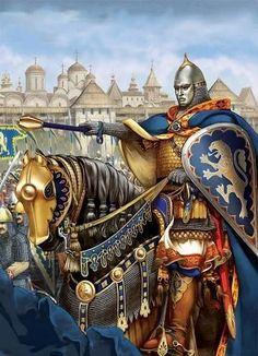 Дружинник Галицько-Волинської Держави (1199-1349) з булавою в руках Medieval World, Medieval Knight, Medieval Armor, Medieval Fantasy, Medieval Times, Early Middle Ages, High Fantasy, Fantasy Warrior, Military Art
