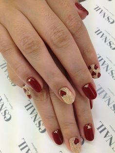 Red & Gold Glitter Hearts Nail Design