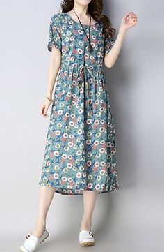 Woman Summer Evening Party Flower with Lace Comfort Casual Long Dress #2246