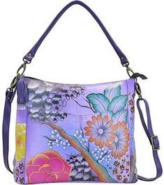 Shop for ANNA by Anuschka Women's Hand Painted Leather Convertible Shoulder Bag 8188 Floral Safari Purple. Get free delivery On EVERYTHING* Overstock - Your Online Handbags Outlet Store! Best Handbags, Hobo Handbags, Shoulder Handbags, Purses And Handbags, Nice Handbags, Shoulder Bags, White Leather Handbags, Leather Purses, Painted Bags