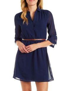 Belted Shirt Dress #CharlotteLook