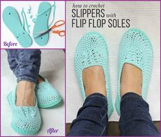 DIY Crochet Slipper with Flip Flop Sole Free Pattern: combine flip flop sole into your crochet shoes to wear outside in Summer. Diy Crochet Slippers, Crochet Slipper Pattern, Crochet Boots, Crochet Clothes, Crochet Baby, Knit Crochet, Free Crochet, Felted Slippers, Crochet Elephant