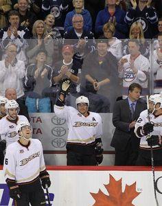 Teemu Selanne of the Ducks is honored in Winnipeg at the beginning of his final season  10-6-13