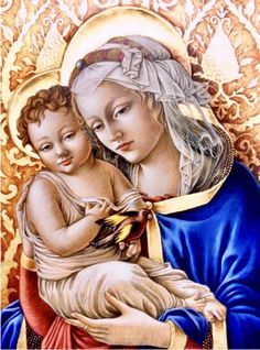 Goldfinch Virgin and Child -Cani G. Blessed Mother Mary, Blessed Virgin Mary, Catholic Art, Religious Art, Calming Images, Hail Holy Queen, Mama Mary, Christ The King, Jesus Art