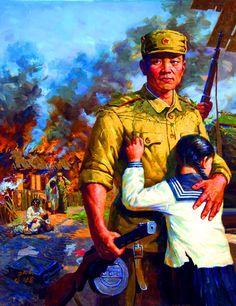 North Korean troops liberating a village during the Korean War Chinese Propaganda, Communist Propaganda, Civil War Art, Korean Peninsula, Socialist Realism, War Comics, Red Army, Korean War, Modern Warfare