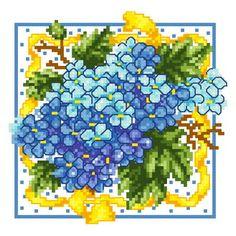 Hydrangea with Yellow Ribbon cross stitch pattern.