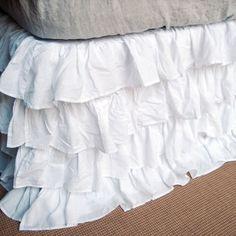 The Ruffled Bedskirt - diy, no sew, no iron. Pick sheer/decorative sheets