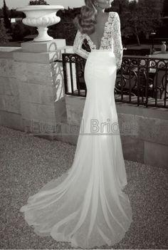 floral lace long sleeves deep v neckline back slik chiffon mermaid sexy wedding dress